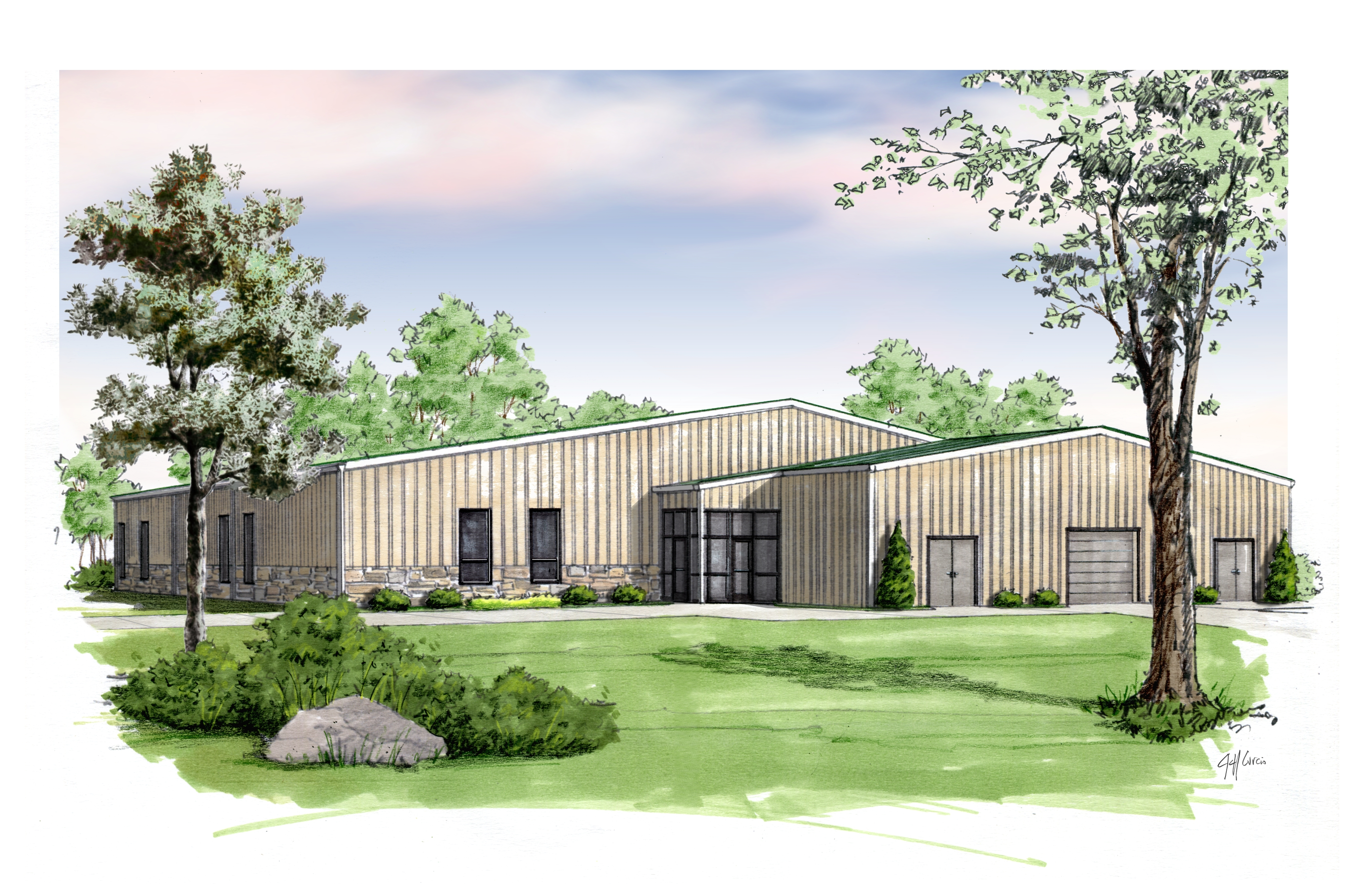 Activity Building Exterior Rendering for centerfold